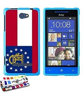 Carcasa Flexible Ultra-Slim HTC 8S de exclusivo motivo [Bandera Georgia] [Azul] de MUZZANO  + ESTILETE y PAÑO MUZZANO REGALADOS - La Protección Antigolpes ULTIMA, ELEGANTE Y DURADERA para su HTC 8S