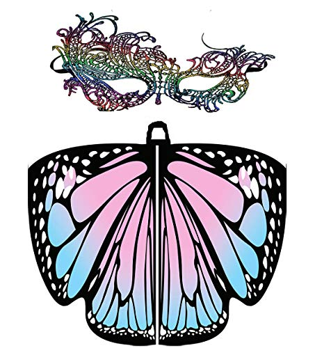 Women Butterfly Wings Shawl Scarves Pixie Party Cosplay Costume Accessory (Pink)