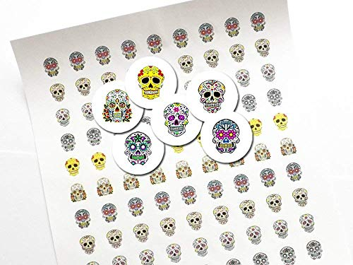 Day of the Dead 3/4 inch or .75 inch round Candy Stickers Sugar Skulls labels treat bag seals