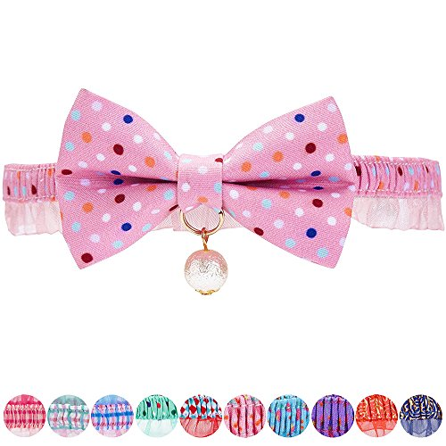 Blueberry Pet 18 Designs Ultra Pink Polka Dot Breakaway Bowtie Cat Collar Lace Choker Necklace with Handmade Bow Tie and Pearl Charm, Safety Elastic Stretch Collar for Cats, Neck (Pink Polka Dot Backgrounds)
