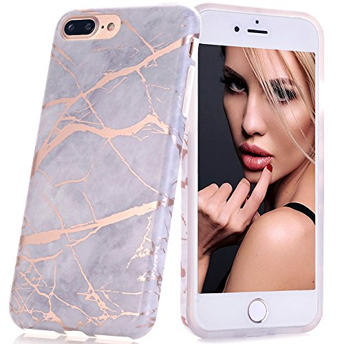 BAISRKE Shiny Rose Gold Gray Marble Design Bumper Matte TPU Soft Rubber Silicone Cover Phone Case Compatible with iPhone 7 Plus/iPhone 8 Plus [5.5 inch]