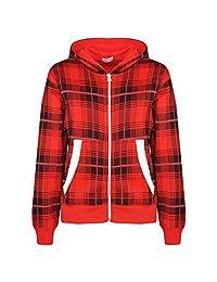 Kids Jacket Boys Girls Fleece Tartan Print Zipped Top Hooded Hoodie 5-13 Years