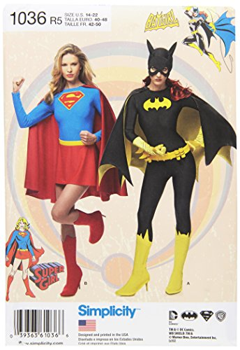 Simplicity Creative Patterns US1036R5 Misses Supergirl and Batgirl Costumes, Size R5 (14-16-18-20-22)