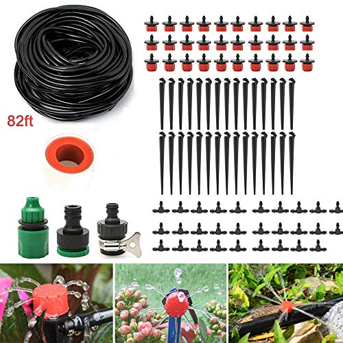 MAILE 82ft Garden Irrigation System DIY Drip Irrigation Kit System Water-Saving Plant Garden Hose Sprayer Watering Kit Accessories