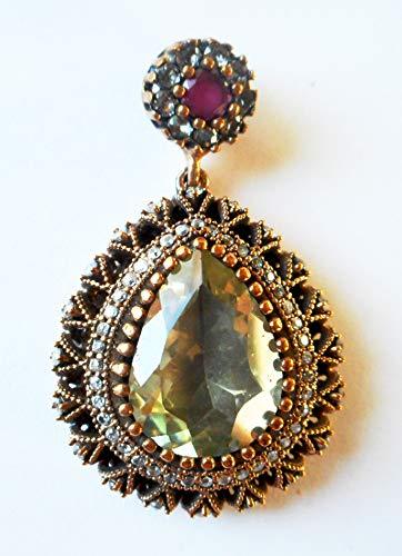 - Vintage Antique Ottoman Turkish 925 silver diamond clear quartz black stones ruby pear shaped pendant with gold vermeil