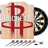 Trademark Gameroom NBA7010-HR2 NBA Dart Cabinet Set with Darts & Board - Fade - Houston Rockets