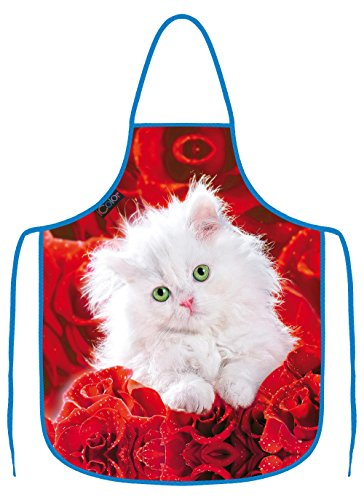 ICOLOR Cute Cat Cooking Apron,Funny BBQ or Kitchen Aprons,Machine Washable,Premium Quality Bib Aprons for Women and Men,Ideal for Kitchen,Parties,Garden,Camping & More | Choose Your Color AP-19