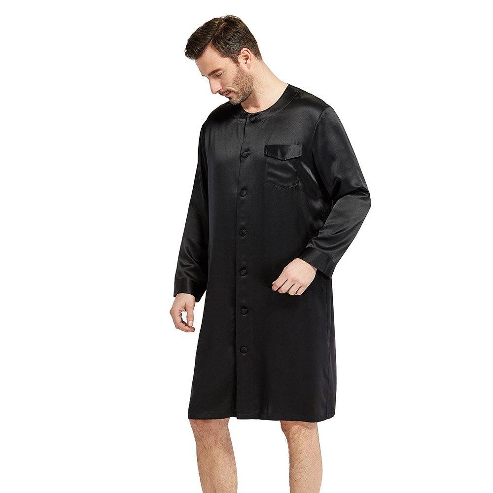 LilySilk Silk Robes for Men Button Front Closure O-Neck 22 Momme Wedding Party Bath Robe USA2342