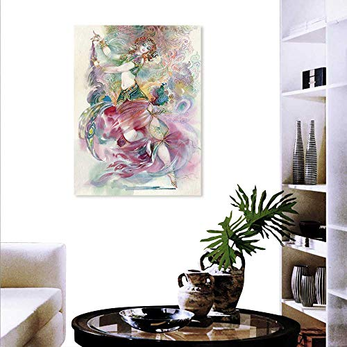 Watercolor Fashion Stickers Wall Oriental Dance Theme Young Girl Performing in Traditional Costume Fantasy Figure Stickers Wall Home 20