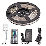 Meanhoo 1Pcs 16.4Ft 300Leds 5M Dimmable LED Light Strip Kit with 24 Key Ir Remote Controller and 12V 5A Power Supply Adapter, Waterproof 5050 RGB Colorful LED Light Ribbon for Car, KTV£¬ Bar and Home