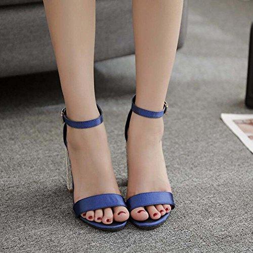 OL correa 10cm Simple Zapatos D'Orsay Hebilla Court Roma Onfly Tamaño Chunkly Azul Shoes Open Satin Ankel de punta cinturón 34 Bomba Sandalias de Eu 40 Vestido mujer Rhinestone Heel de x88q7R5wA