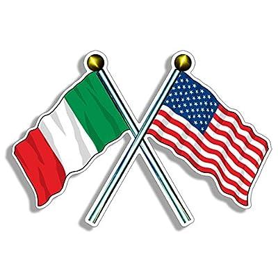 Crossed Poles USA & Italy Waving Flags Sticker (American Italian us Italia): Automotive