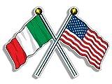 the italians americans - Crossed Poles USA & Italy Waving Flags Sticker (American Italian us Italia)