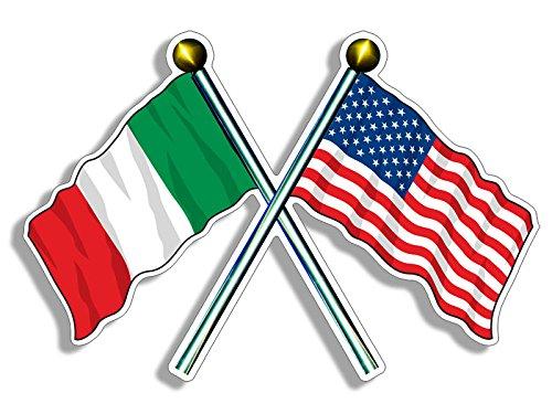 - Crossed Poles USA & Italy Waving Flags Sticker (American Italian us Italia)