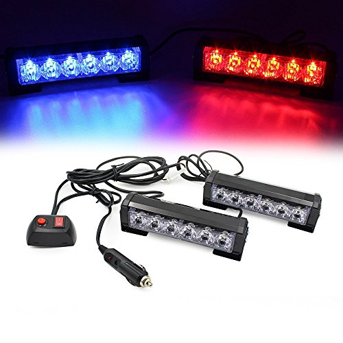 (LEAGUE&CO 2 X 6 LED 9 Modes Car Truck Vehicle Emergency Hazard Warning Strobe Flash Lights For Interior Roof/Dash/Windshield/Grille/Deck (Red/Blue))