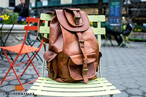 Leather Native 16' Genuine Leather Retro Rucksack School/Travel Drawstring Macbook Backpack Great Gift For Men And Women Summer Sale!