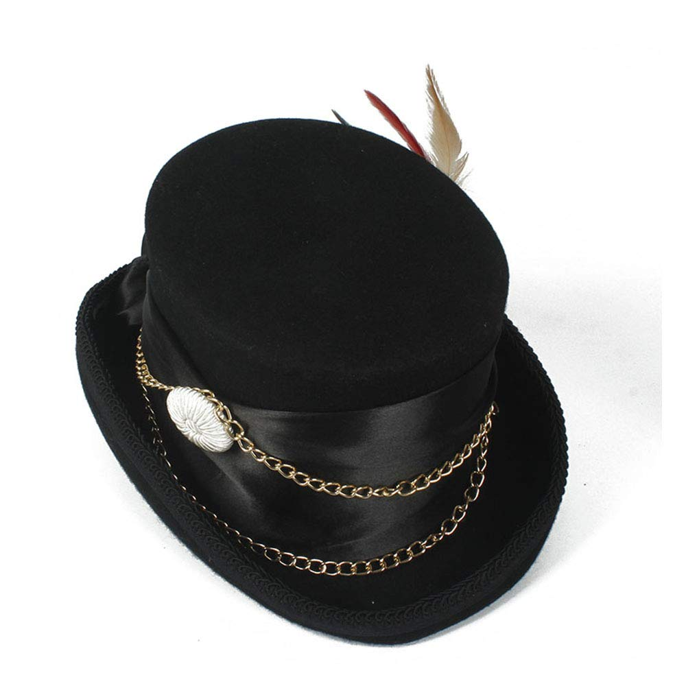 LL Women'sFeather Metal Chain Top Hat Ladies Wool Fedora Magician Party Hat 4Size S M L XL 13.5 cm (5.3 Inch) (Color : Black, Size : 61cm) by LL (Image #7)