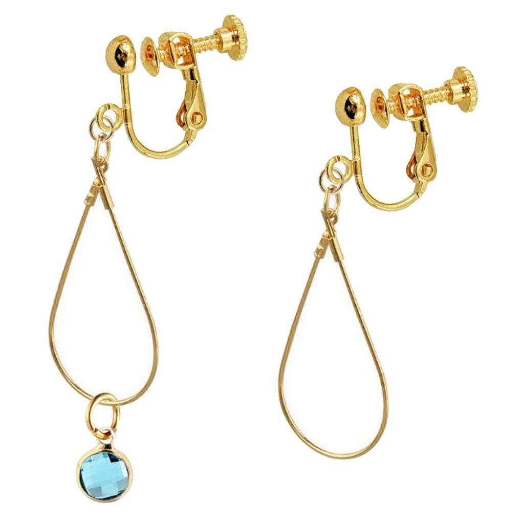 Birthstone Clip on Earrings for Girls Crystal March Teardrop Dangle Asymmetrical Earring