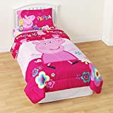Peppa Pig Twin Sized 5 Piece Bedding Set - Reversible Comforter, Sheets and Sham