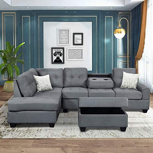 Sectional Sofas 3-Seat Sofa Sectional Sofa Couches with Chaise Lounge and Ottoman for Living Room Furniture (Grey)