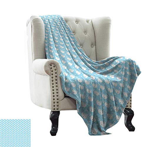 Baby Blanket Yarn Whale,Young Marine Animals Squirting Water with Little White Hearts Baby Shower Design,Pale Blue White Comfortable Soft Material,give You Great Sleep 35