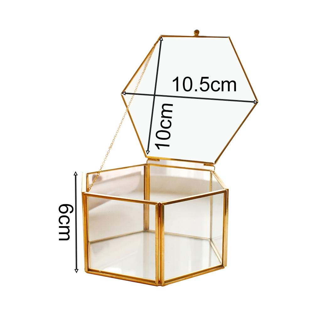yestter Caja De Anillo para Boda Caja De Flores Hexagonal En Vidrio Geom/étrico Transparente Caja De Vidrio