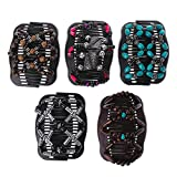 Sarora - Magic Elastic Hair Comb - Easy Magic Wood Beads Double Hair Comb Clip Stretchy Women Hair Accessories(Color Random)