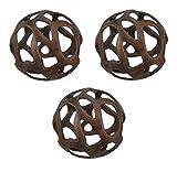 Zeckos Aluminum Decorative Fruit And Balls Copper Finish Aluminum Table Art Set Of 3 Decorative Balls 4.75 X 4.75 X 4.75 Inches Copper