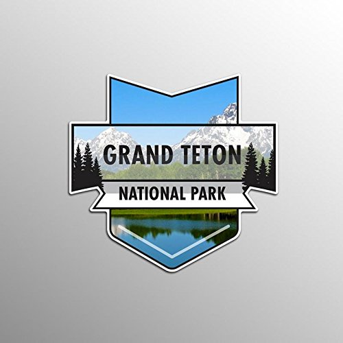 JMM Industries Grand Teton National Park Vinyl Decal Sticker Car Window Bumper 2-Pack 4.7-Inches by 4.4-Inches Premium Quality UV Protective Laminate NPS025 (Teton National Park Sticker)