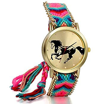 Mothers Day Gift New Women Ladies Handmade Adjustable Wristband Horse Rope Knitted Watches