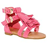 Baby Toddler Girls and Little Girls Strappy Buckled Fringe Gladiator Flat Sandals (9 M US Toddler, Coral)
