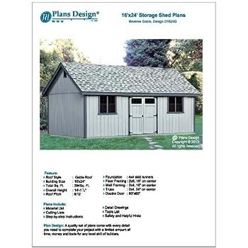 Utility Shed Building Plans Blueprints Do It Yourself Diy 16 X 24