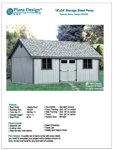 Utility Shed Building Plans Blueprints Do It Yourself Diy 16 X 24
