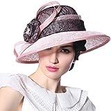June's Young Women Hat Church Wide Brim Lace Crown Fashion Summer Hat