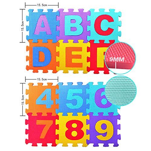 fervory 36PCS Alfombra Puzle para Ni/ños Alfombra De Espuma Alfombras para Ni/ños Alfanum/éricos Rastreo Beb/é 6 6 Cm Puzzle