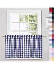 CAROMIO Buffalo Check Plaid Gingham Kitchen Tier Curtains, Valance Curtains, Tie Up Shade Window Treatment Kitchen Cafe Curtains Bathroom Window Curtains, Multi Color
