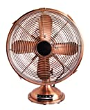 Optimus F-6122 12-Inch Antique-Design 3-Speed Table Fan with Copper Finish