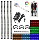 LED TV Backlight Kit, Topled Light® 4x1.64ft Bias Lighting RGB Color Changing with 44Keys Remote + Power Adapter LED Strip Backlight Kit for HDTV Flat Screen LCD, Desktop PC(Backlight Kit))