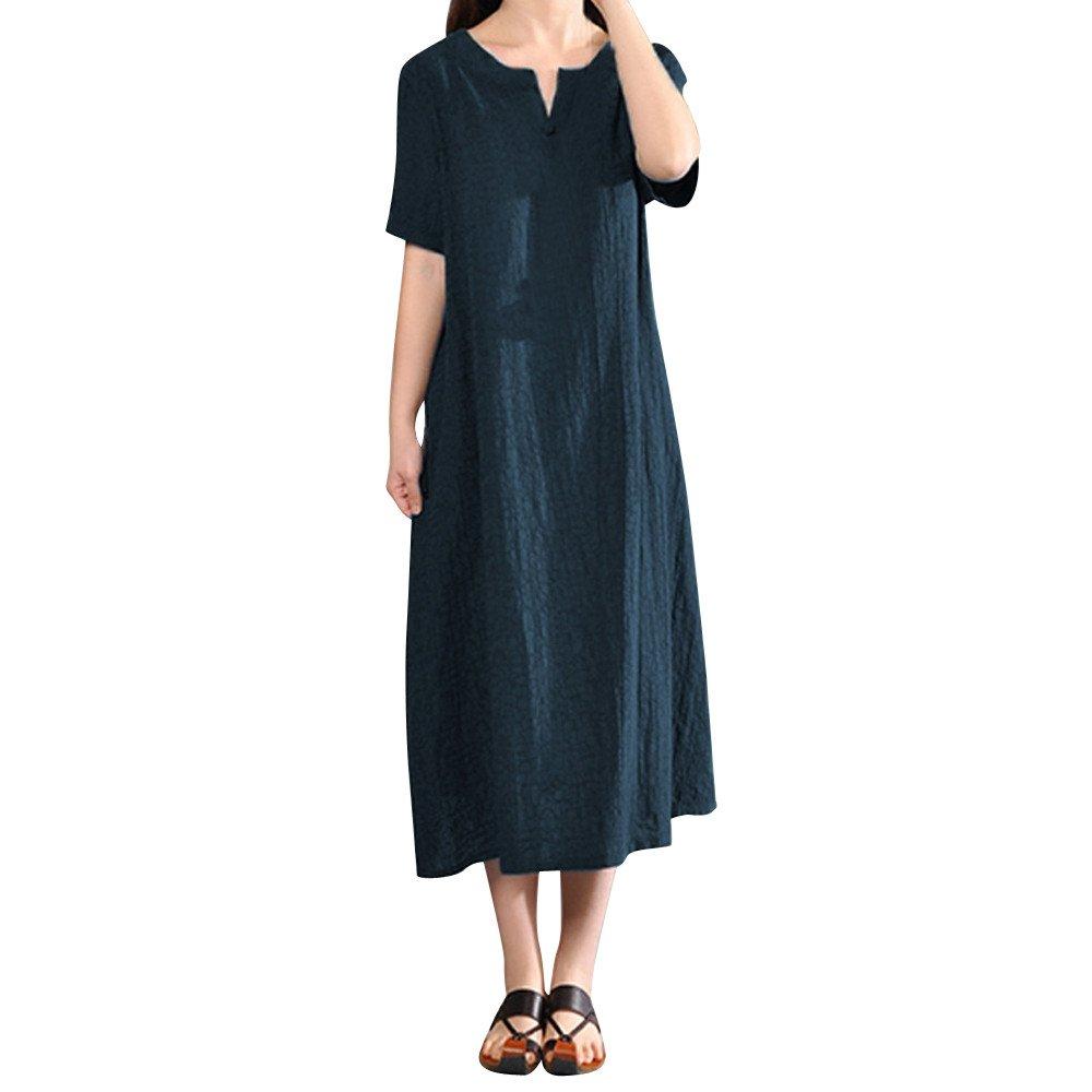 Women's Casual Short Sleeve Cotton Dress Loose Maxi Long Dress Vintage Baggy Dresses