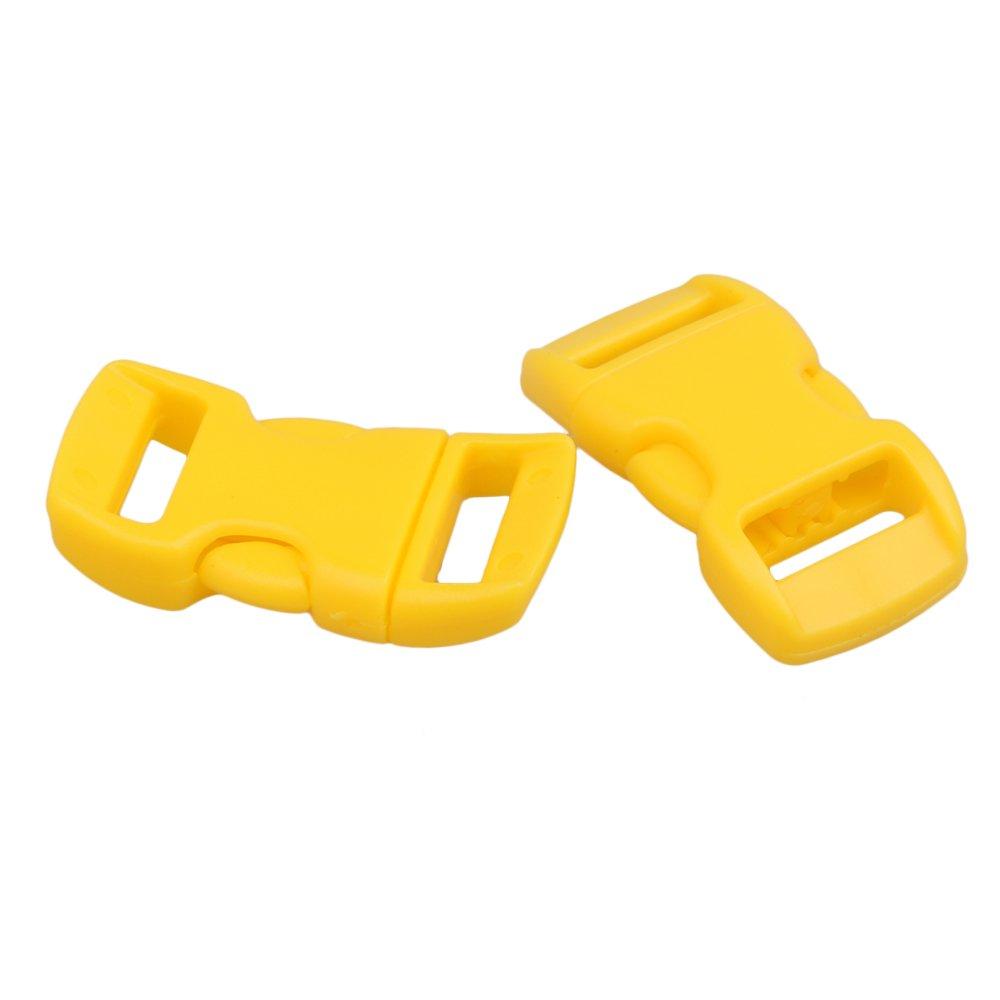 20/pcs 10/mm Profil/é Boucles /à c/ôt/é Lib/ération rapide pour sangle de sac Ceinture jaune