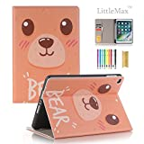 LittleMax iPad 9.7 Inch 2017/2018 Case with Pencil Holder, Slim Fit Folio Flip Kickstand Protective Case Auto Wake/Sleep Function Cover for Apple iPad 9.7 Inch 2017/2018 -# Bear