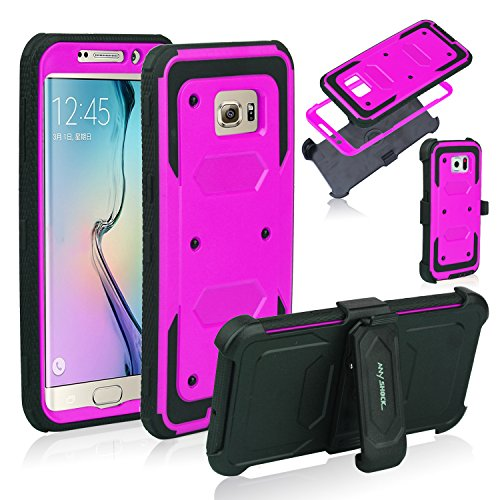 Cheap Anyshock Heavy Duty Shockproof Durable Full Body Protection Rigged Hybrid Case with Belt Clip Holsterand Kickstand for Samsung Galaxy S6 Edge Plus(Free Screen Protector Included) (Hot-Pink)