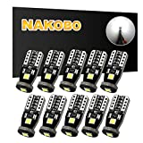 #8: NAKOBO 194 168 175 2825 12961 Non Polarity LED Interior Car Bulb W5W T10 Chipset 3030 for License Plate Dome Map Door Courtesy Park Lights 6000K Pure White (10 pack)