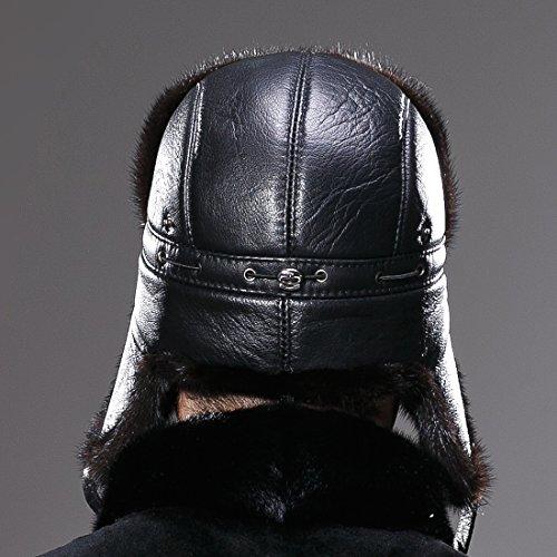 URSFUR Winter Leather Men Fur Hat Real Mink Fur Russian Trapper Hats