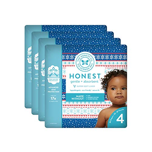 The Honest Company Baby Diapers with True Absorb Technology, Cozy Sweater, Size 4, 92 Count