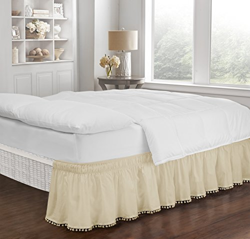 18 Drop Ivory Twin - Easy Fit Pom Fringe Wrap Around Easy On/Off Dust Ruffle 18-Inch Drop Bedskirt, Twin/Full, Ivory