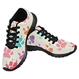 InterestPrint Women's Jogging Running Sneaker Lightweight Go Easy Walking Casual Comfort Sports Running Shoes Size 6 colorful Prints With Messy Dog Paws For Sale