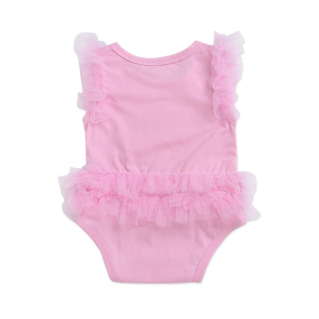 9d028b33ba7 Amazon.com  Staron Toddler Baby Romper Newborn Girls Bow Lace Jumpsuit  Playsuit Princess Outfits  Clothing