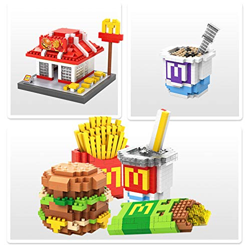 LOZ McDonald's Hamburger Food Diamond Mini Building Micro Block Brick Headz Baseplate DIY Figurine Bobble Head Collectible Developmental Toys Model Comics Collection Chistmas/Birthday Gifts for Kids