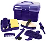 William Hunter Equestrian Lincoln Grooming Box, Perfect Gift For Horse Lovers. Available In Pink, Purple Or Blue. Includes A Full Range of Everyday Grooming Tools. (Puple) Lincoln Grooming Kit, Perfect Gift For Horse Lovers. - White